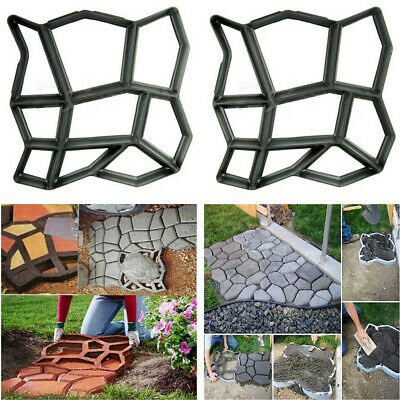 2 x CRAZY PATIO DRIVEWAY CONCRETE PAVING GARDEN PATH SLAB BRICK FLOOR TILE MOULD