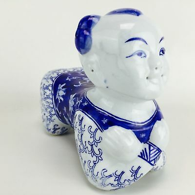 Vintage Chinese Hand Painted White & Blue Porcelain Boy Head Rest Opium Pillow