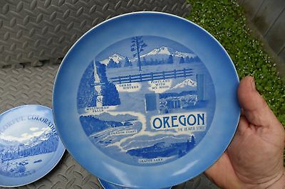 Oregon The Beaver State Blue Collector Plate Japan Crater Lake Mt Hood Souvenir