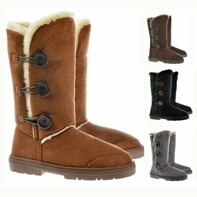 736e47c7800bd0 Womens Girls Ella Triple 3 Button Fur Lined Flat Winter Snow Boot Rubber  Sole