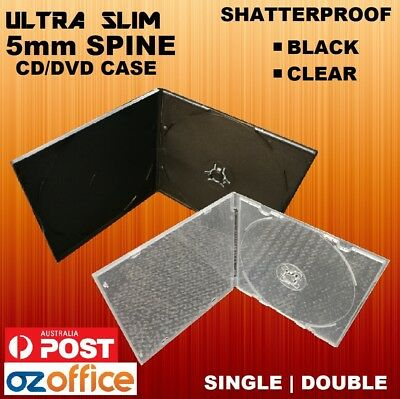 ULTRA SLIM 5mm CD DVD Case Cover Short Plastic Slim Slimline Case Black Clear