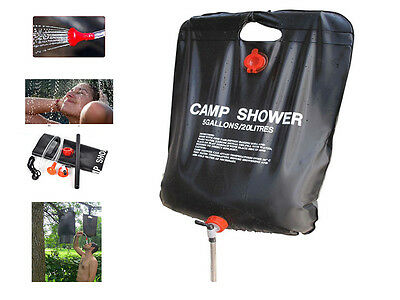 Heated Solar Sun Power Shower Camp Portable Compact Outdoor Festival 20L Water