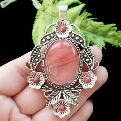 Incomparable Red Cherry Quartz & Tibetan Silver Pendant Bead D8444