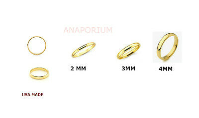 Solid 2mm 3-4mm Real 10K Yellow Gold Comfort Fit Men Women Wedding Band Ring.USA