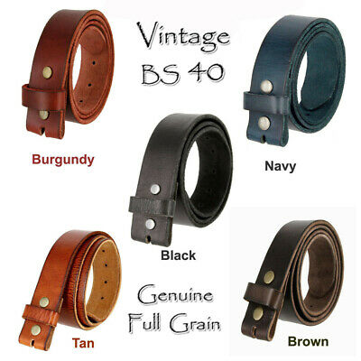 """Full Grain Leather Belt Strap - Bs 40 - One Piece 11/2"""" Wide Five Colors New Nwt"""