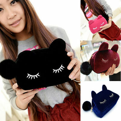 New Cute Flannel Cosmetic Makeup Cartoon Cat Storage Bags Pen Pencil Pouch Cases