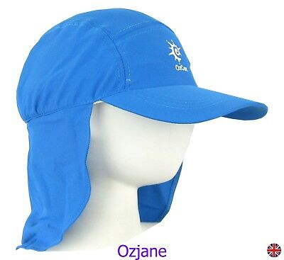Baby Boys Uv 50 +Ozcoz Sun Swim Hat Sun Protection Legionnaire Blue 1 To 2 Yrs