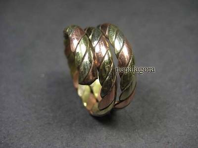 R150 TIBETAN ethnic 3 metal COPPER brass MEDICINE fashion Ring size 10 Nepal