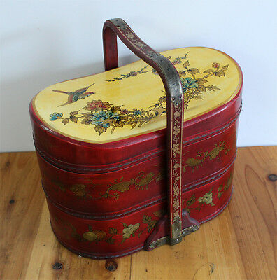 vintage Folk Art hand Painted Chinese Wood Tibet Bucket Cover o