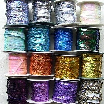 2 Metres Of Sequin On A String 6Mm Approx (Lots Of Colours To Choose)