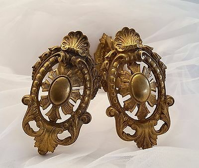 ANTIQUE FRENCH CHATEAU BRONZE CURTAIN TIE BACK HOOK HOLDER X 2 Large