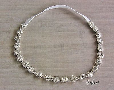 Christening Rhinestone Crystal Baby Girl Headband Photo Prop Wedding Photo Tie