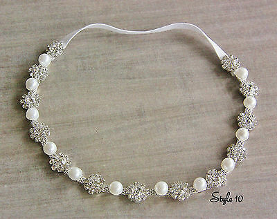 Rhinestone Pearls Baby Girl Headband Christening Photo Tie Back Wedding Autumn