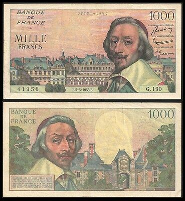 France 1000 Francs RICHELIEU 5.5.1955 P 134a VF