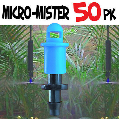50 PACK - 360° MICRO MISTER Spray Sprinkler Irrigation Watering System Poly Tube