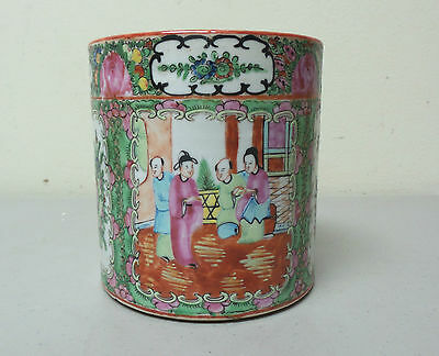 "Wonderful Antique Chinese Export Rose Medallion 5"" Porcelain Brush Pot / Vase"