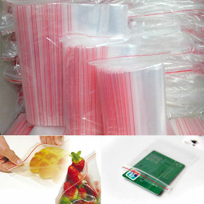 100pcs 3Sizes Ziplock Zip Zipped Lock Reclosable Plastic Poly Clear Seal Bags