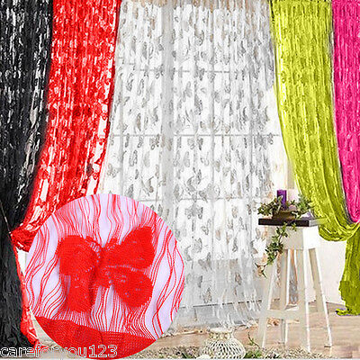 Butterfly Sheer Curtain Window Door Panel Curtain Room Divider Voile Drape New