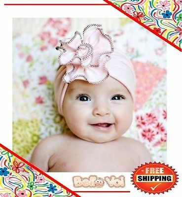 Light Pink Cotton Flower Headband Hair Band Girls Baby Infant Toddler Children