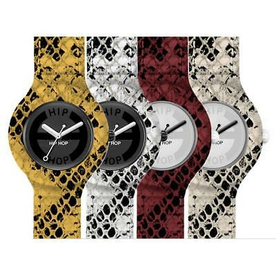 Orologio Donna HIP HOP PYTHON 32 mm Pitonato Silicone Bianco Nero Beige