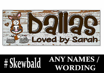 Skewbald white & brown HORSE PONY cartoon name Sign Plaque Stable door tack room