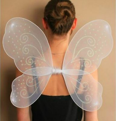Butterfly Angel Fairy Girls Ladies White Wings Fancy Dress Dressing Up Party