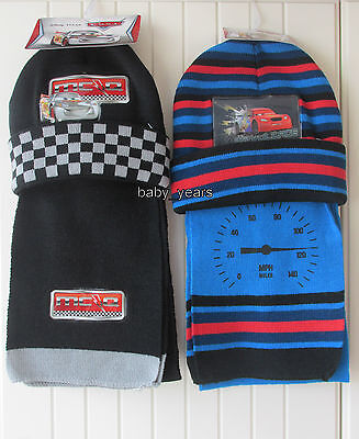 Boys Hat And Scarf Set Disney Pixar Cars Character Winter Wear Lightning Mcqueen