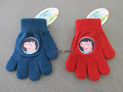 Peppa Pig George Gloves Boys Girls Red Blue Childrens Winter Clothing Wear New