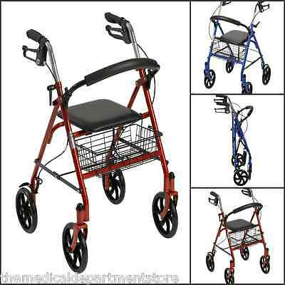 Drive Medical Lightweight 4 Wheel Rollator, with 8 inch wheels + Shopping Basket