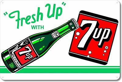 7 UP Fresh Up With 7 UP Advertising Sign Soda Pop Soft Drink Aluminum Tin SG31