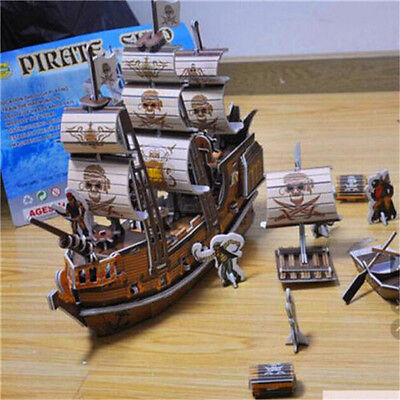FD1944 DIY 3D Pirate Boat Ship Jigsaw Puzzle Child Toys Model Ship ~124 Pieces
