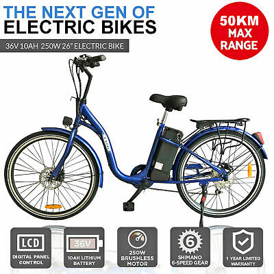 Black 250W Adults Electric Bike Ebike Scooter City E-Trike Tricycle Bicycle