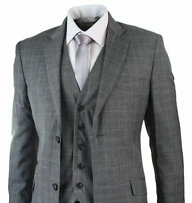 Mens 3 Piece Tailored Fit Light Grey Check Classic Suit Formal Occasional Smart