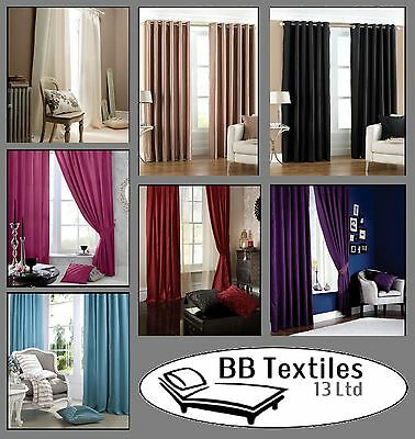 Catherine Lansfield Luxury Faux Silk Eyelet Curtains various colours