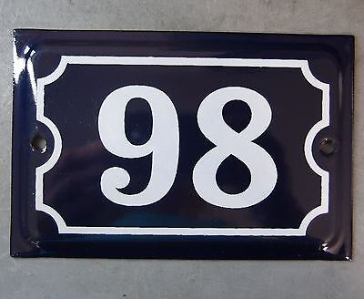 Antique French Dark Blue Enamel Porcelain Door House Gate Number Sign Plate 98