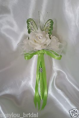 Wedding Flowers Bridesmaids Flower Girl Wands Butterfly Ivory Lime