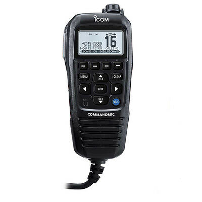 Icom Commandmic Iv With White Backlit Lcd In Black