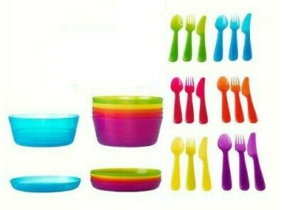 Plastic Food Set Plate Bowl Cutlery Kids Picnic Party Camping *Sanitiser In Use*