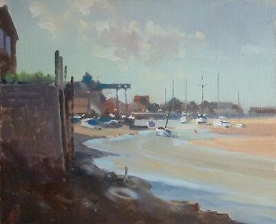 "NEW ORIGINAL MICHAEL RICHARDSON OIL ""Quay from the Shipyard, Wells"" PAINTING"