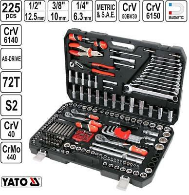 "Yato heavy duty wrench socket set 225 pcs 1/2"", 3/8"", 1/4"" metric & SAE YT-38941"
