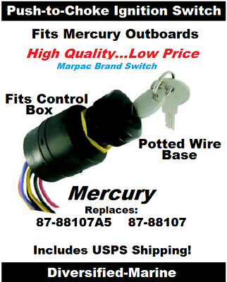 Mercury Push To Choke Ignition Switch Replaces 87 88107a5 Potted