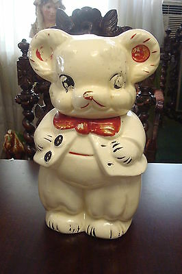 American Bisque cookie jar 1940s Girl + Boy Bear bottom: 4 in 1 USA Turnabout[*]