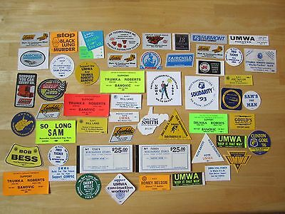 Large Lot Stickers, Decals, Scrip Coupon Book, United Mine Workers UMWA Coal