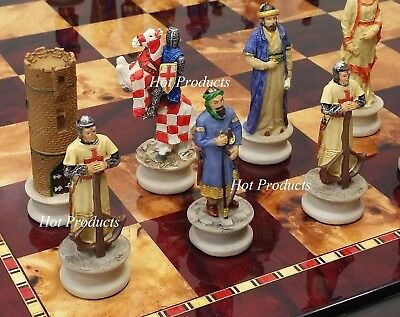 "Medieval Times Crusade Arabian vs Christian Chess Set W/ 18"" Cherry Color Board"