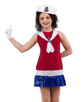 Anchors Aweigh Dance Costume Sailor Tap Dress Red, White and Blue Clearance