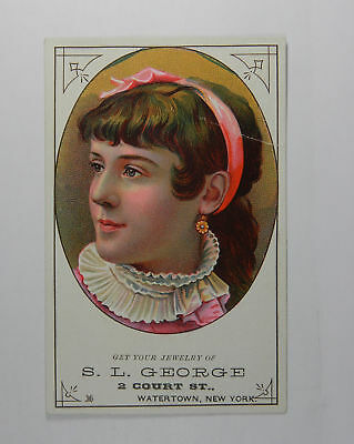 S.L. George Watertown, New York Jewelry Vintage Trade Card 216650