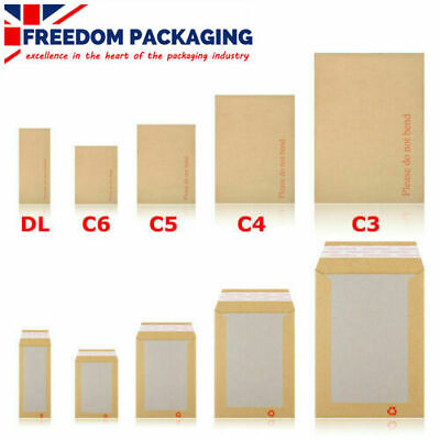 "Hard Board Backed Manilla Envelopes A6 A5 A4 A3 ""Please Do Not Bend"""