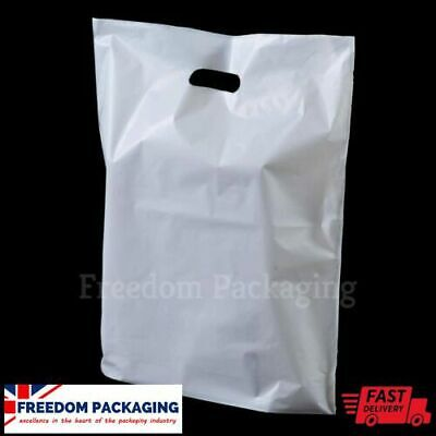 White Patch Handle Carrier Gift Retail Shopping Plastic Polythene Poly Bags
