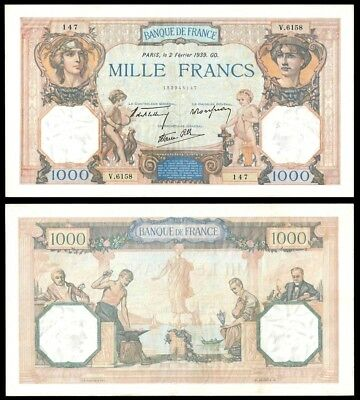 France 1000 Francs CERES & MERCURY 2.2.1939 P 90c AU