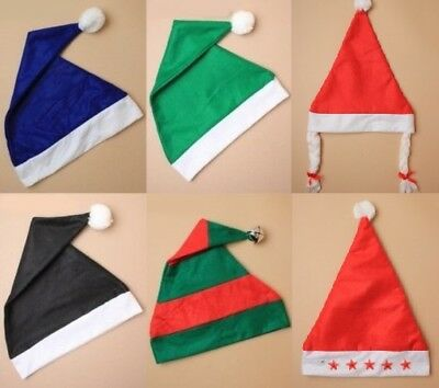 Coloured Santa Hats, Elf, Gnome, Smurf, Bah Humbug, Fancy Dress, Unisex; Lot